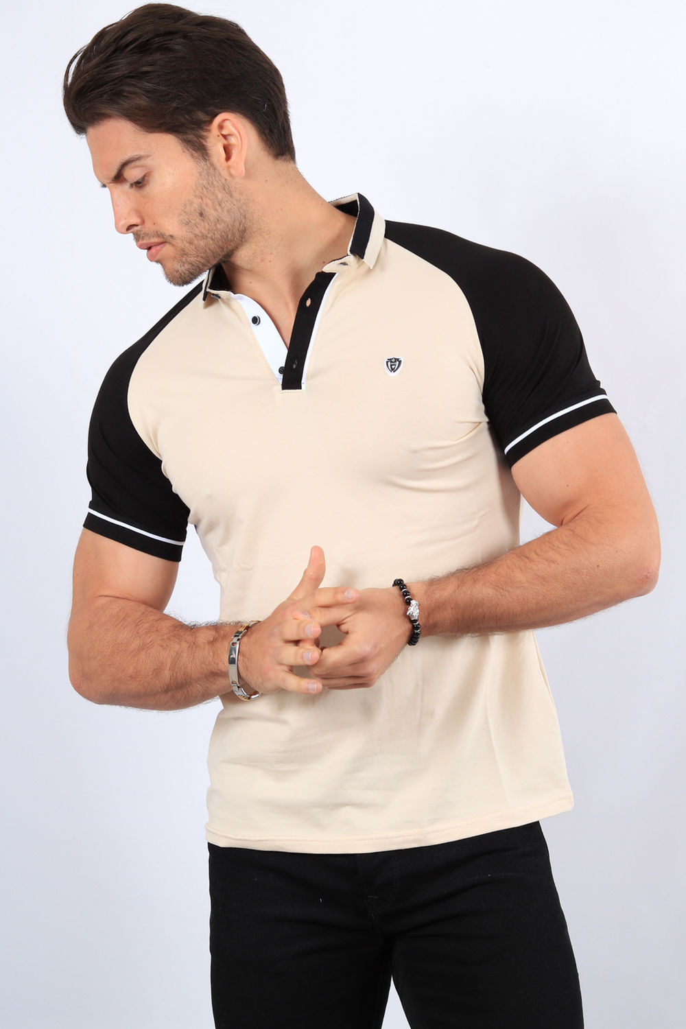 Polo homme beige 8873
