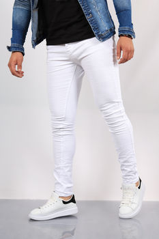 Jeans homme blanc skinny 72261