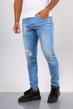 Jeans homme skinny bleu clair 071