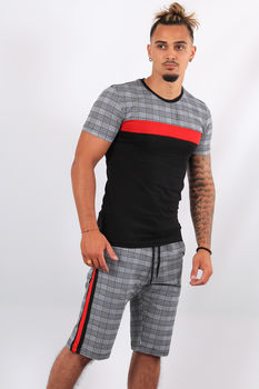 Ensemble t-shirt + short  carreaux rouge ES1