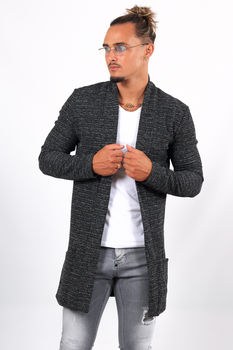 Gilet long homme noir chiné 19602/01