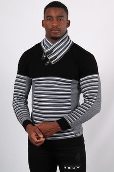 Pull homme noir col montant  5226