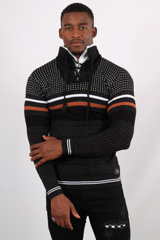 Pull homme noir col montant  5206