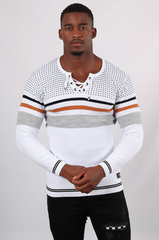 Pull homme blanc col lacet  5238