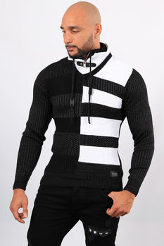 Pull homme noir col montant 5202