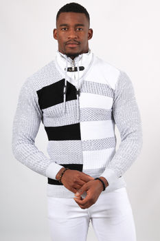 Pull homme blanc col montant 5202
