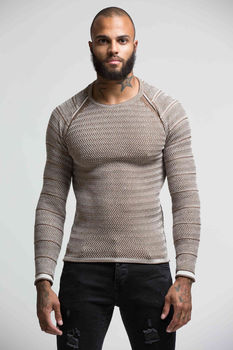 Pull homme marron  F586