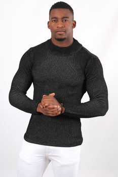 Pull homme noir col montant  2314