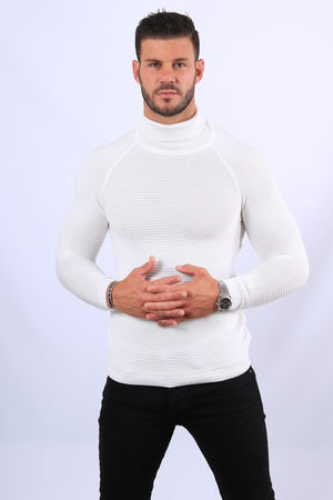 Pull homme blanc col roulé  2311