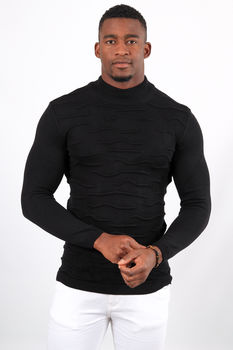 Pull homme noir col montant 2328