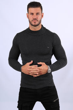 Pull homme noir chiné  col montant 2378