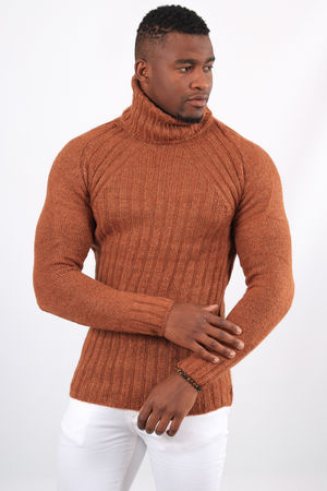 Pull homme col roulé camel  6075