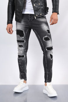 Jeans homme noir strass 157