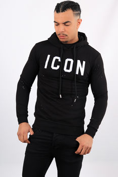 Sweat noir à capuche icon blanc hd19