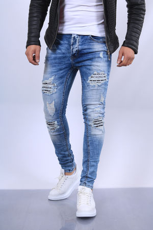 Jeans homme bleu clair skinny 66108