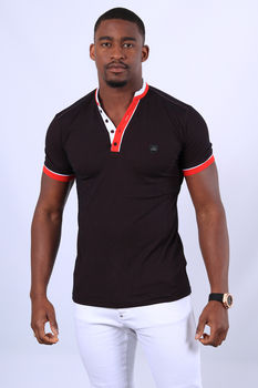 Polo homme rouge chiné 8781