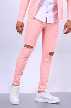 Jeans homme rose 339