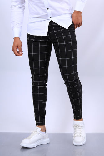 pantalon chino  homme carreau noir fri 1719