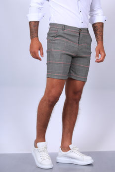 Short chino pour homme gris/red 1735