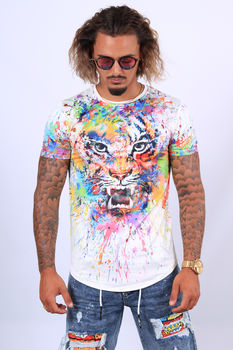 t-shirt homme lion blanc up700