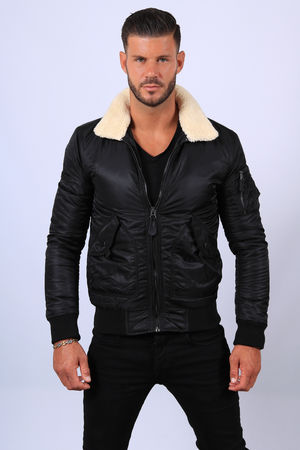 Bombers homme noir col mouton  6630