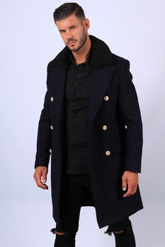 veste caban long homme bleu 2082