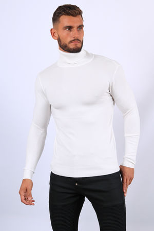 Pull homme col roulé blanc CR1