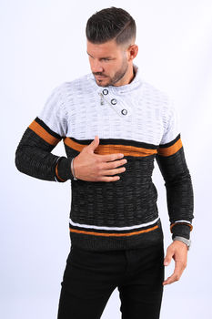 Pull homme blanc col montant  52133