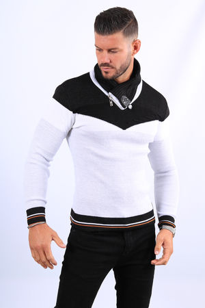 Pull homme blanc col montant  5209