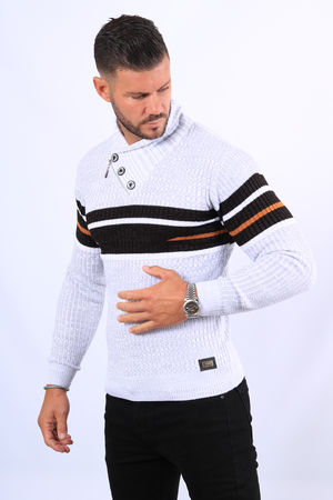 Pull homme blanc col montant  5245