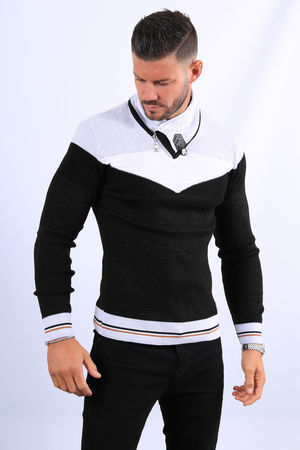 Pull homme noir col montant  5209