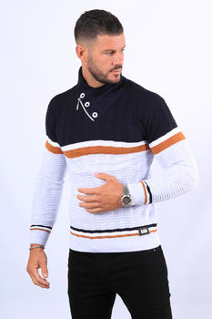 Pull homme marine col montant  52119