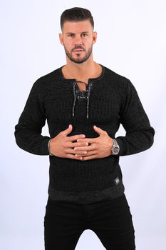 Pull homme noir col montant  52132