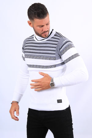 Pull homme blanc col roulé  52104