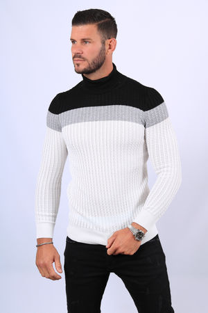 Pull homme col roulé  blanc 1881