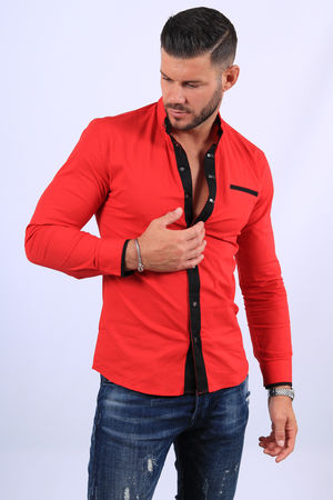 chemise homme rouge 20287
