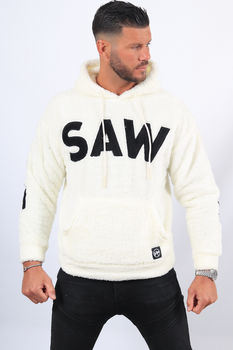 Sweat blanc à capuche fourrure SAW