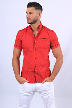 chemise manche courte rouge  21514