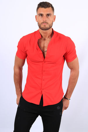 Chemise manches courtes rouge mao 061