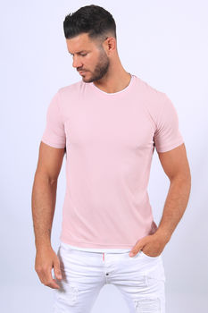 T-shirt homme rose 5398