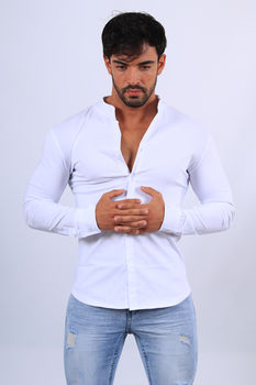 Chemise manches longues blanc mao 070