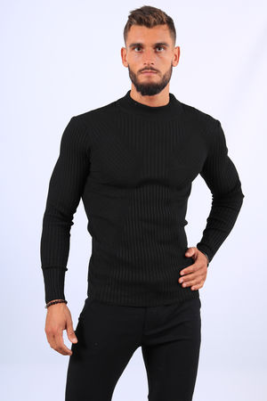 Pull  homme noir col montant 2542