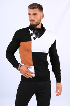 Pull  homme noir col montant 52214