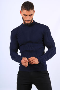 Pull  homme bleu col montant 2542