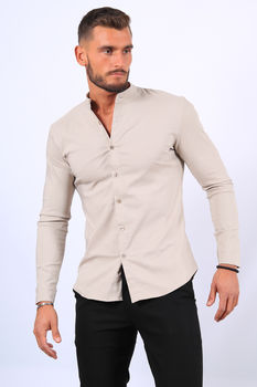 Chemise manches longues beige mao 070