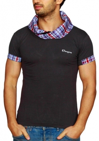 Tee-Shirt homme fashion noir col carreau