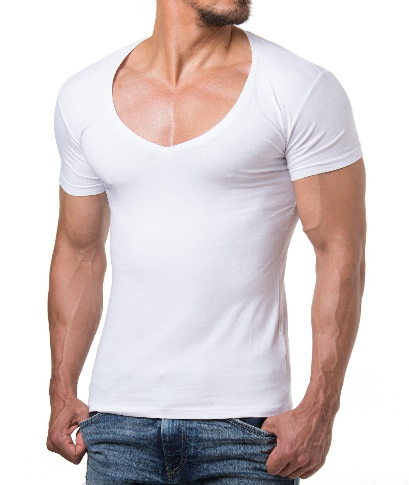b6837d55e012 t shirt blanc col v homme - www.goldpoint.be