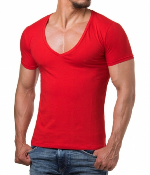 T-shirt homme grand col V rouge 1315