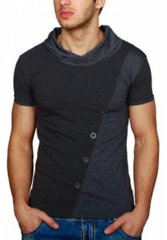 T-shirt homme bi-color black/gris