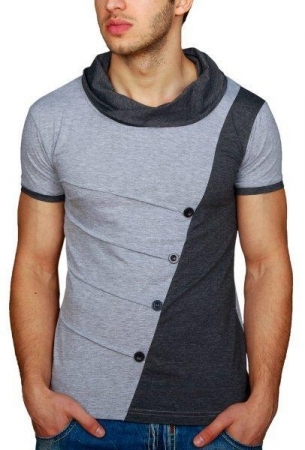 T-shirt homme bi-color gris/black